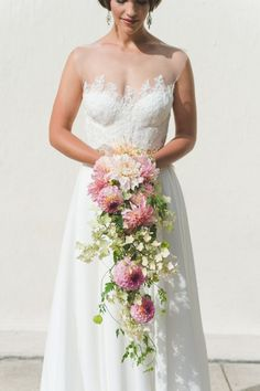 Illusion neckline wedding dress with beautiful lace