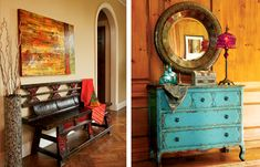 LOVE the blue dresser!!  Would love to have this in my entryway!