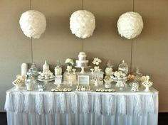 white sweet table wedding dessert table by Sugar Coated Mama via Kara's Party Ideas 30th Wedding Anniversary, Silver Anniversary, Anniversary Cakes, Wedding Desserts, Wedding Cakes, Wedding Decorations, Party Centerpieces, Sweet Table Wedding, Our Wedding