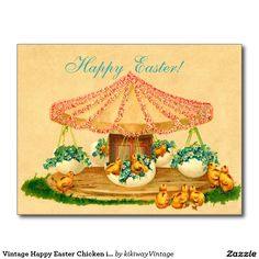 Vintage Happy Easter Chicken in Carousel Postcard