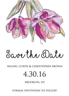 Watercolor flowers save the date, spring pink and purple watercolor flowers, purple flowers save the date, pink flowers save the date