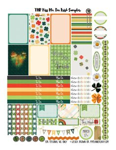 (St. Patrick's Day) My Planner Envy: Kiss Me, I'm Irish Sampler - Free Planner Printable