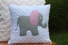 Pink and Grey Elephant Pillow Cover by nest2impress on Etsy