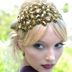 Decadence Headdress. Large headpiece formed of sparkling Swarovski crystals in golden and bronze tones.  Hermione Harbutt. http://www.hermioneharbutt.com
