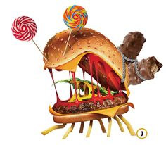 햄버거 괴물. 초콜릿·사탕·아이스크림 같은 단 음식.  아이들이 단맛과 짠맛에 일찍부터 길들여지고 있다.