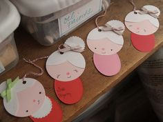 Santa & Mrs Claus paper gift tags, garland or ornaments - too cute not to do something with