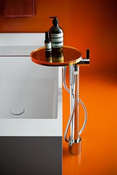 Kartell and Laufen join forces on a new type of modern bathroom fixtures called Kartell by Laufen that combines traditional ceramic with plastic. Orange Bathrooms, Big Bathrooms, Bathroom Sets, Bathroom Fixtures, Modern Bathroom, Bathroom Hardware, Beautiful Bathrooms, Laufen Bathroom, Washroom