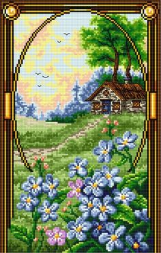 Pattern () Modern Cross Stitch Patterns, Counted Cross Stitch Patterns, Cross Stitch Designs, Cross Stitch Embroidery, Cross Stitch House, Simple Cross Stitch, Cross Stitch Flowers, Cross Stitch Landscape, Cross Stitch Pictures