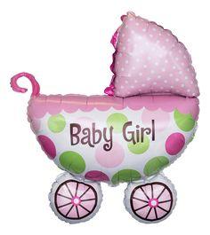 Baby Geschenk Folienballon Kinderwagen Baby Girl #Ballon #Geburt