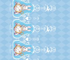 Dreams of Wonderland - Sax border print fabric by frostedfleurdelis on Spoonflower - custom fabric