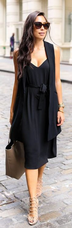 Black Simple Slip Dress Fall Inspo Women apparel | Women's Clothes | Fashion | Style | Outfits | #clothes #fashion #women | SHOP @ CollectiveStyles.com