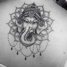 32 Ideas For Tattoo Mandala Elephant Artists Ganesha Tattoo Mandala, Ganesha Tattoo Sleeve, Ganesha Drawing, Sleeve Tattoos, Ganesha Tattoo Thigh, Hamsa Hand Tattoo, Hindu Tattoos, Buddha Tattoos, Body Art Tattoos