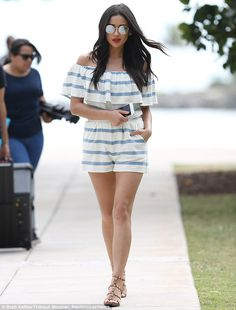 Beachside look: Shay Mitchell, 28, was a vision in a striped romper during a video shoot i...