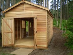 Store large items with ease in the Cedarshed Boathouse with double wide doors.  cedarshed.com