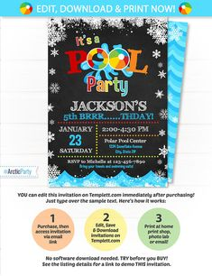 Pool Party Invitation Swimming Pool Birthday Party Winter $7.99 #PoolPartyInvitation #SwimmingPoolBirthdayParty #WinterPoolParty