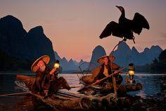 cormorant fishermen at dusk guilin china photography nikon landscape,china travel fish mountains water river photography