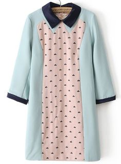 Blue Contrast Lapel Long Sleeve Embroidered Dress - Sheinside.com