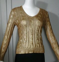 Ralph Lauren Metallic Gold Cable Knit Sweater Womens Size P/M Petite Medium in Clothing, Shoes & Accessories, Women's Clothing, Sweaters | eBay