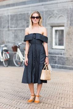 Today on Who What Wear, we're sharing a roundup of our 50 favorite street style looks of the moment. Tap the link in our bio for serious outfit inspiration. // Photo: by Vestido Off Shoulder, Shoulder Dress, Spring Dresses, Dresses For Work, Dress Summer, Pretty Dresses, Fashion Outfits, Womens Fashion, Fashion Trends