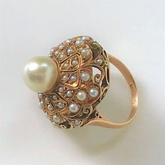 Gold and Pearl Ring Gold Pearl Ring, Light Cream, Vintage Jewellery, Yellow Gold Rings, Gemstone Rings, Brooch, Pearls, Antiques, Pattern