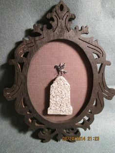Silhouette Gravestone w/Raven Portrait Wall Hanging Plaque Decoration (custom holder not incl) by PXWoodNJoys on Etsy