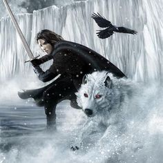 February: Jon Snow and his dire wolf, Ghost  2012 Song of Ice and Fire calendar | Blastr