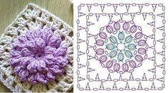Home Decor Crochet - Free Crochet Patterns Part 1 Crochet Flower Squares, Crochet Flower Tutorial, Crochet Motifs, Granny Square Crochet Pattern, Crochet Flower Patterns, Crochet Diagram, Doily Patterns, Crochet Chart, Crochet Stitches