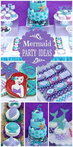 The Little Mermaid Birthday Party Little Mermaid Birthday, Little Mermaid Parties, The Little Mermaid, 4th Birthday Parties, Birthday Fun, Birthday Themes For Girls, Birthday Ideas, Girl Themes, Disney Birthday