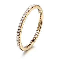THIN Design - Pave Diamonds Solid 14K Yellow Gold Engagement Wedding Full Eternity Matching Band Ring $280