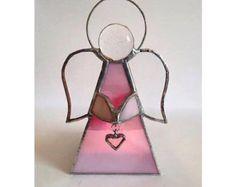 Angel de vitral con candelita por theglassalley en Etsy