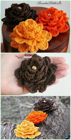Crochet Gratitude Flower Free Pattern - Crochet 3D Flower Motif Free Patterns