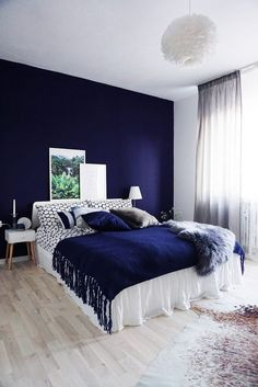 Home Bedroom Design Bedroom Color Schemes, Bedroom Colors, Home Decor Bedroom, Blue Bedroom Walls, Bedroom Green, Bedroom Ceiling, Ikea Bedroom, Interior Livingroom, White Bedroom