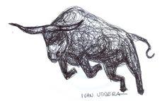 dibujo toro en lapicero