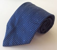 Jones New York Neck Tie Blue Geometric 100% Silk #JonesNewYork #NeckTie