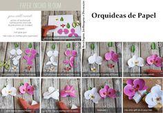 Orquídeas de Papel irão diferenciar a embalagem de um presentinho especial... encontrará os modelos para impressão, aqui:  Branca: http://www.ellinee.com/blog/wp-content/uploads/2012/08/WhitePaperOrchid.pdf    Rosa: http://www.ellinee.com/blog/wp-content/uploads/2012/08/PinkPaperOrchid.pdf    Fonte:  http://www.ellinee.com/blog/diy-paper-orchid/