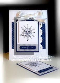 Me, My Stamps and I: From This To This- A Second Look at ATC - Stamps: Serene Snowflakes, To You and Yours. Paper: Going Gray, Night of Navy, Whisper White, Pattern DSP. Ink:  Night of Navy, White Craft. Accessories: organza ribbon, bling. Tools: Fancy Flower punch, Score-Pal, Dimensionals.