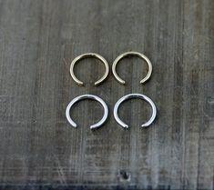 Tiny Minimalist Cuff Earrings Gold or Silver Open Hoop Ear
