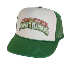 86ccbdaf5a1ce Vintage Mighty Morphin Power Rangers Hat Trucker Hat snap back adjustable  one size fits most green