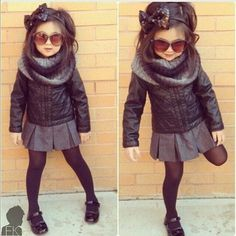 Baby swag pleated gray skirt leather motorcycle jacket designer baby clothes kids style