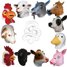 Latex Full Head Overhead Farmyard Animal Prop Fancy Dress Up Carnival Party Mask