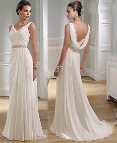 Sexy V-neck Greek Chiffon Summer Wedding Dresses Nymph Beaded Lace Bridal Gowns