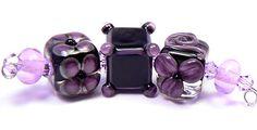 Purple beads - handmade lampwork glass beads by artist Kandice Seeber