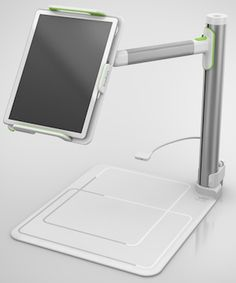 The Belkin Tablet Stage ($199.00 - available in March 2013)  turns an iPad into a document camera for classroom presentations.  Compatible with most tablets, according to the company, incl. the iPad and iPad mini, with or w/o a case. Provides an adjustable mount that allows educators to alter the orientation of the iPad, adjust its angle (from flat to vertical), & adjust the device's height. It includes dual integrated LEDs for illumination, plus a stylus holder and optional surface mount.