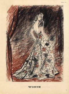 Worth 1939 Eric Evening Gown Fashion Illustration