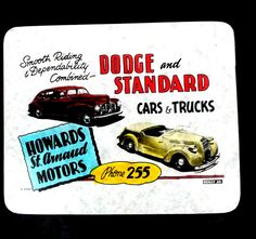 slide for Dodge and Standard cars and trucks at Howard's St Arnaud Motors. Advertising, Ads, Motors, Dodge, Cinema, Trucks, Movies, Truck, Motorbikes