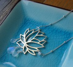 Lotus and Moonstone Necklace Yoga Jewelry Large by Hulamoonjewelry, $65.00