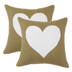 """Set of two cotton-burlap throw pillows with hypo-allergenic fill.  Product: Set of 2 pillowsConstruction Material: Cotton and burlap cover and polyester fillColor: Tan and whiteFeatures:  Zippered closure Inserts included Dimensions: 17"""" x 17"""" eachCleaning and Care: Hand or spot clean"""