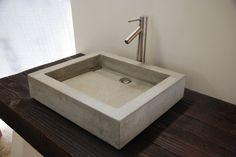 square basin concrete sink