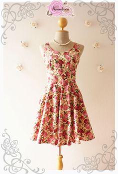 Summer Dress Floral Dress Rose Swing Dress Dancing par Amordress, $45.00