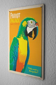 Tin Sign Bird Species  parrot Metal Plate